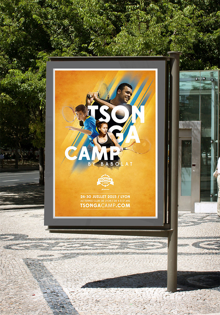 Advertising poster for the Tsonga Camp with Babolat in Lyon