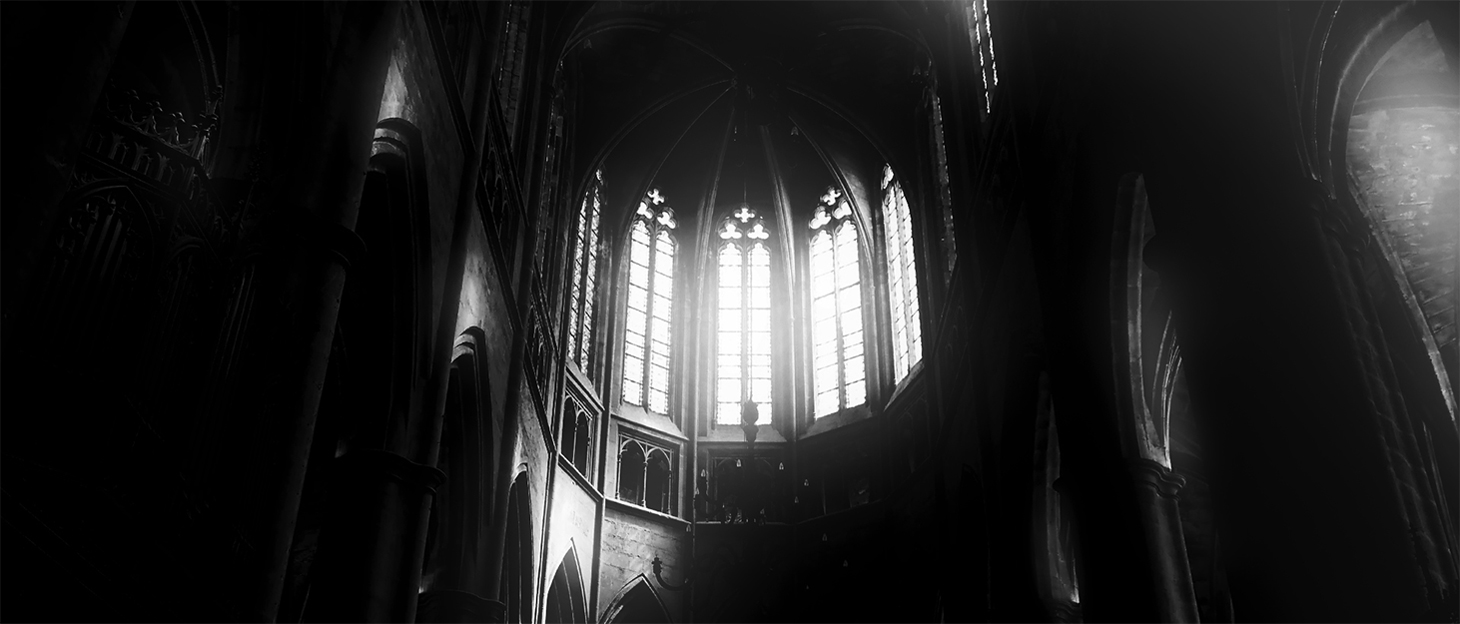 Black and White photography of windows inside a cathedral