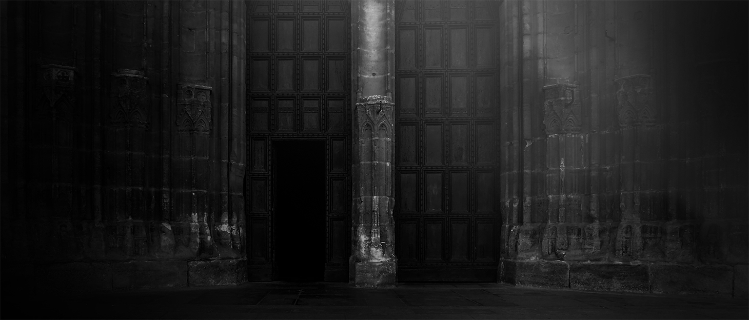 Black and White photography of the entrance of a Cathedral