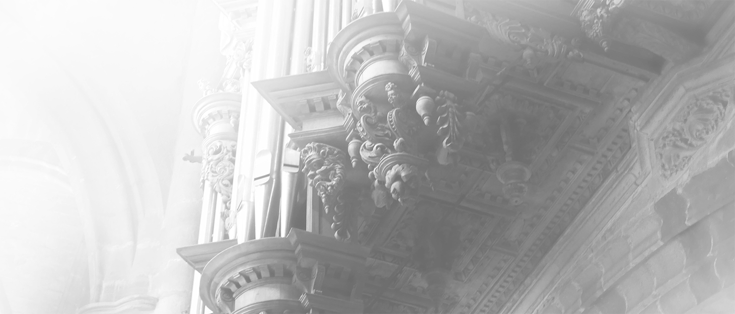 Black and White photography of a sculpture ornaments in a cathedral