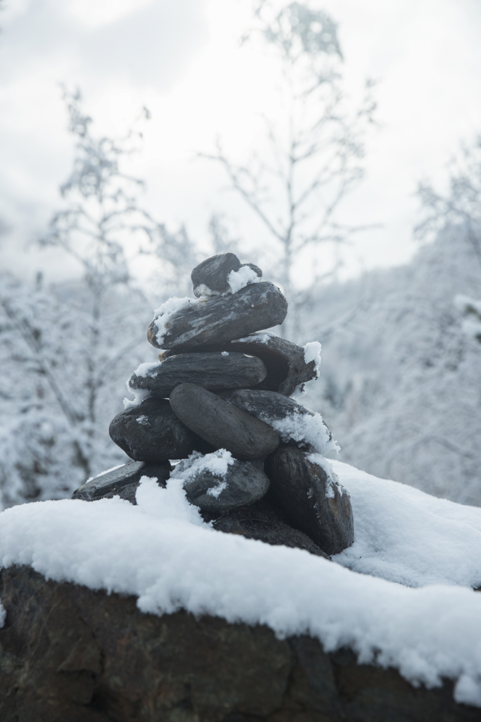 Cairn under snow