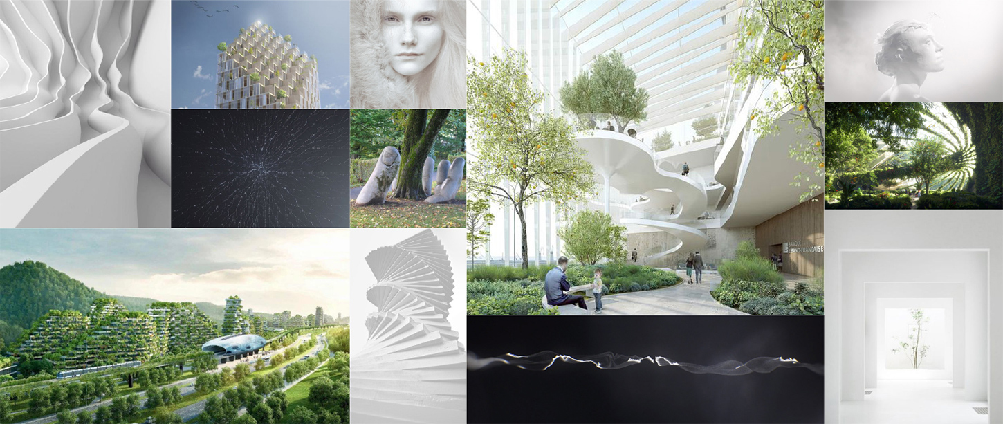 Moodboard building nature technology