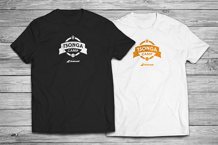 Logo Tsonga camp on black and white T-shirts